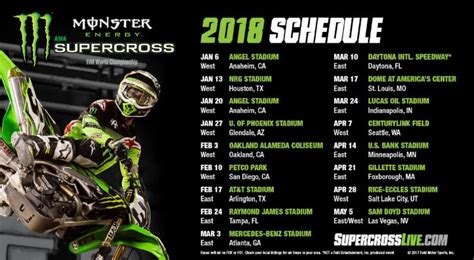 monster energy supercross announces  schedule