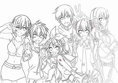 Vocaloid Anime Lineart Coloring Pages Drawings Line