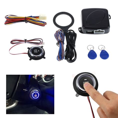 auto car alarm engine starline push button start stop rfid lock ignition switch keyless entry