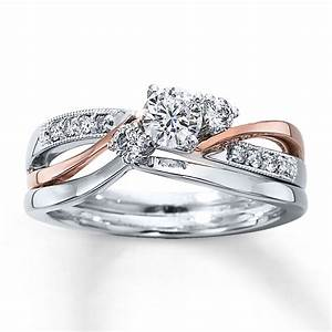 kay diamond bridal set 3 8 ct tw round cut 14k two tone gold With two toned wedding ring sets