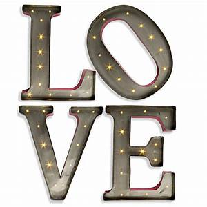 Large led wall art 15 inch lighted metal letters love for Metal letters with lights