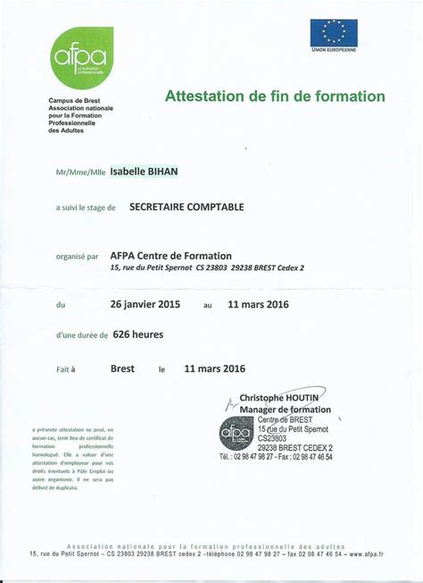 formation secretaire comptable afpa mes formations secr 233 taire comptable isabelle bihan