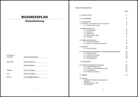 business plan vorlage lebenslauf