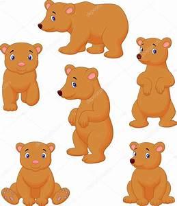 Cute brown bear cartoon collection — Stock Vector ...