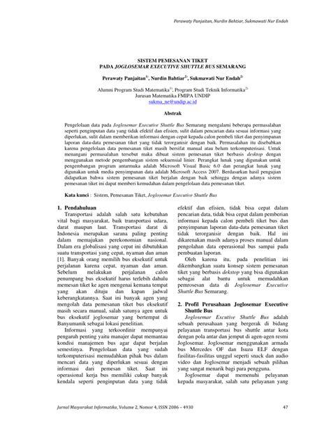(PDF) SISTEM PEMESANAN TIKET PADA JOGLOSEMAR EXECUTIVE
