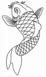 Drawn koi carp outline - Pencil and in color drawn koi ...