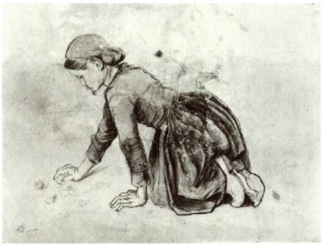 girl kneeling  vincent van gogh  drawing