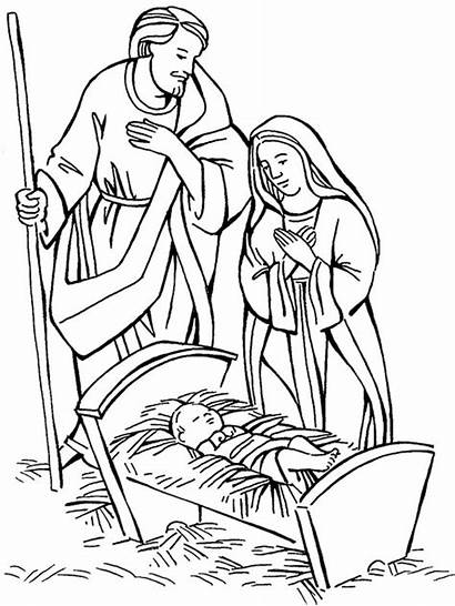 Nativity Coloring Jesus Pages Scene Christmas Born