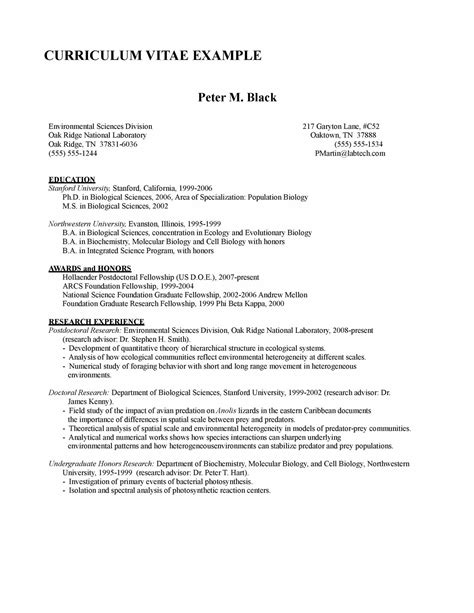 Phd Curriculum Vitae Template by Resume Format Best Resume Format For Phd Applicant