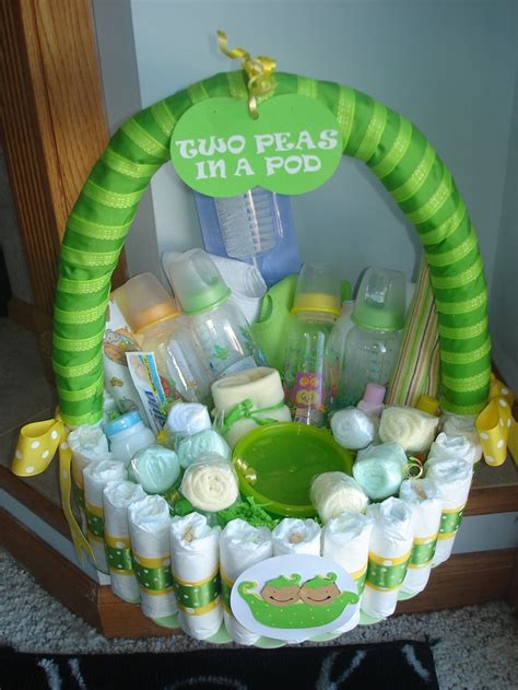 Baby Shower Gifts - two peas in a pod basket by teresaphillips on etsy