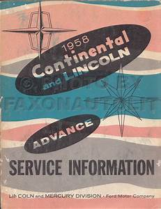 1958 Lincoln Repair Shop Manual Reprint Capri Premiere