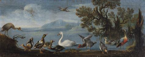 galline da cortile scuola romana due paesaggi en pendant paesaggio con cigno