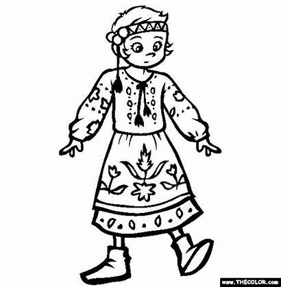 Coloring Ukraine Ethnic Pages National Costumes Wear