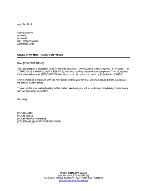 price increase request letter template full version