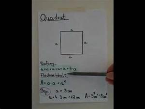Quadrat Fläche Berechnen : quadrat fl cheninhalt und umfang youtube ~ Themetempest.com Abrechnung