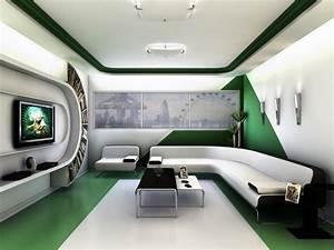 Architecture. Office Futuristic Interior Design: Green ...