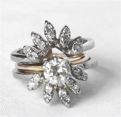 vintage  wht gold diamond wedding band guard ring wrap