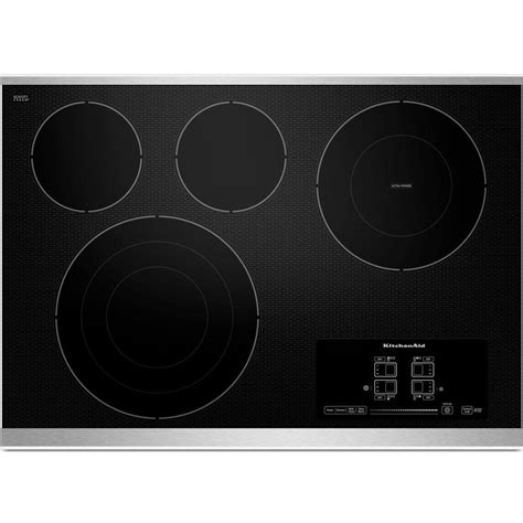 ceramic cooktop kitchenaid 30 in ceramic glass electric cooktop in stainless steel with 4 elements including