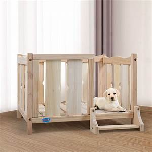 Coziwow, Elevated, Open, Wooden, Dog, Bed, Frame, Furniture, With, Ladder, For, Medium, To, Small, Pet, Indoor