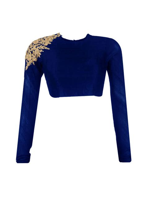 navy blue raw silk embroidered unstitched blouse fabric
