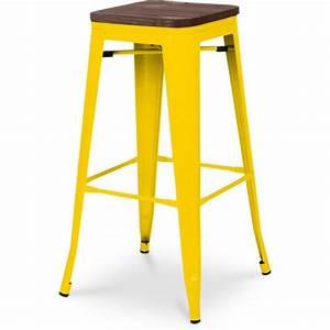 Tabouret De Bar Jaune : tabouret de bar lux jaune assise bois coin du design ~ Teatrodelosmanantiales.com Idées de Décoration
