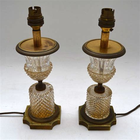 pair  antique crystal table lamps marylebone antiques