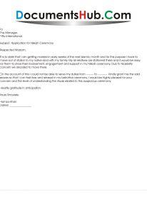 leave application  nikkah ceremony