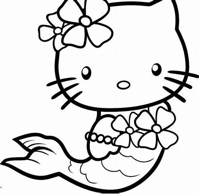 Kitty Hello Coloring Pages Printable Cat Japanese