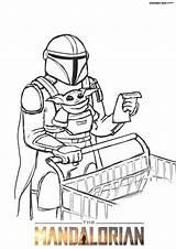 Mandalorian Coloring Colorear Dibujos Yoda Dune Cara Characters Jedi Spaceship Wonder Mandaloriano sketch template