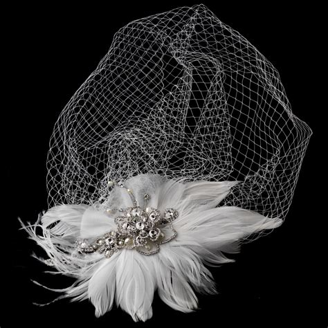 Vintage Feather Bridal Headpiece And Veil Elegant Bridal