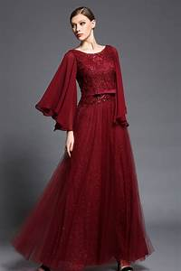 robe dos nu longue bordeaux a manche evasee persunfr With robe de soiree bordeau
