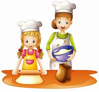 Clipart Mother Baking Daughter Kinder Backen Enfant