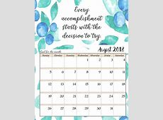 August 2018 Calendar With Motivational Quotes 2018