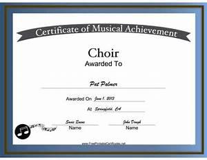 free printable choir certificates choir vocal music With choir certificate template