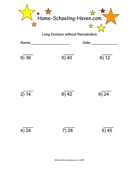 division without remainders 6 worksheet for 3rd 4th