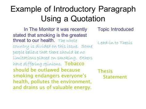 introduction paragraph template writing an introductory paragraph ppt