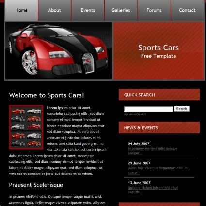 Car Designer Website by Sports Cars Template Free Website Templates In Css Html