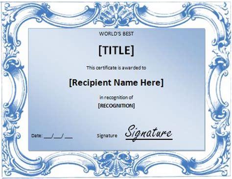 world s best award certificate template formal word