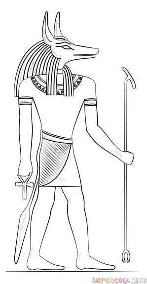 draw anubis  egyptian god step  step drawing