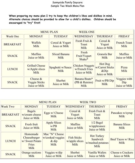 sunnyside family daycare daily schedule amp meal plans 455 | 31758396f65d0a24347254672861a6f5
