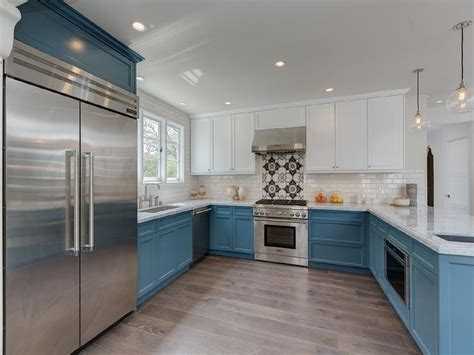 white kitchen cabinets with lower cabinets white cabinets and blue lower cabinets