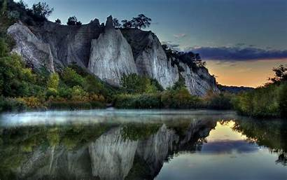 Reflection Lake Mountain Cliff Mountains Windows Wallpapers