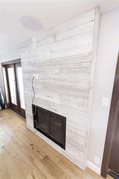 Distressed White Iowa Pine Wood Wall w/Steel Fireplace Frame