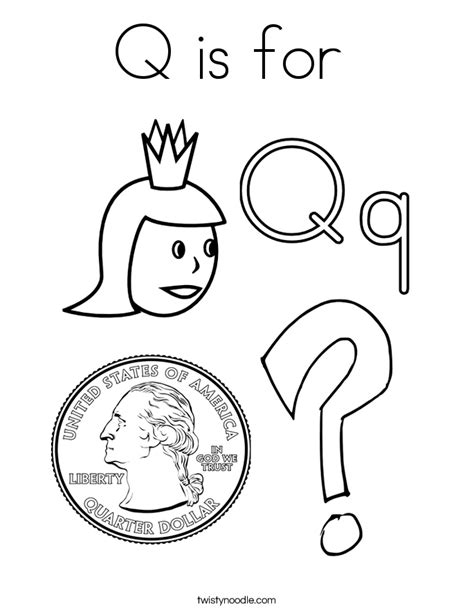 7 letter q worksheets and coloring pages q is for coloring page twisty noodle 71153