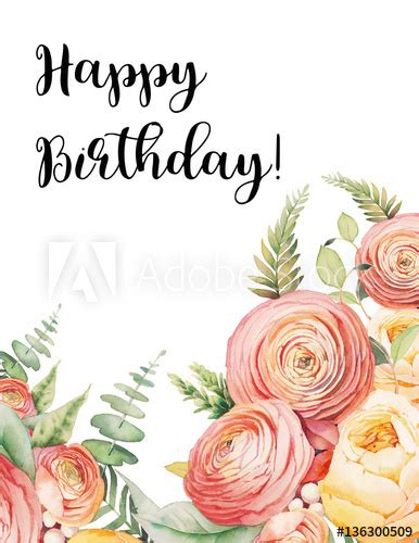 happy birthday card  watercolor flowers bouquet hand