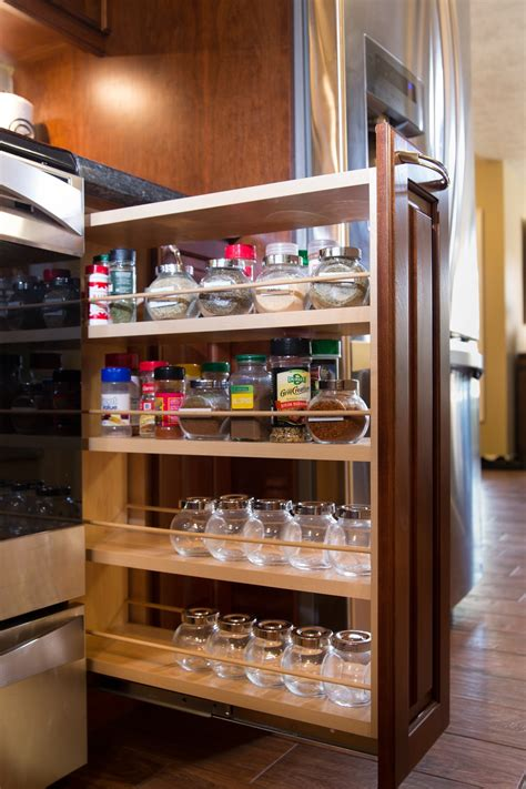 kitchen cabinets spice rack pull out modern kitchen cabinets with 4 tiers light walnut wood 9173