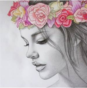 Tumblr Girl Drawing Flower Crown | fashionplaceface.com