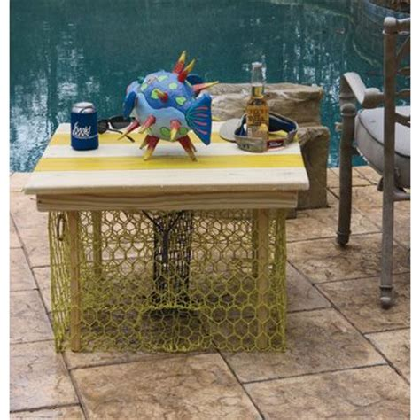 outdoor table ls for porches crab trap table yellow pickle white nautical coastal
