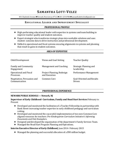 Leadership Resume For High School by Education Leadership Resume