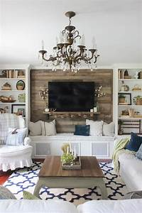 inspiring living room accent wall Fall Into Home Tour 2016 | Feather My Nest | Simple living room, Fall living room, Living room decor